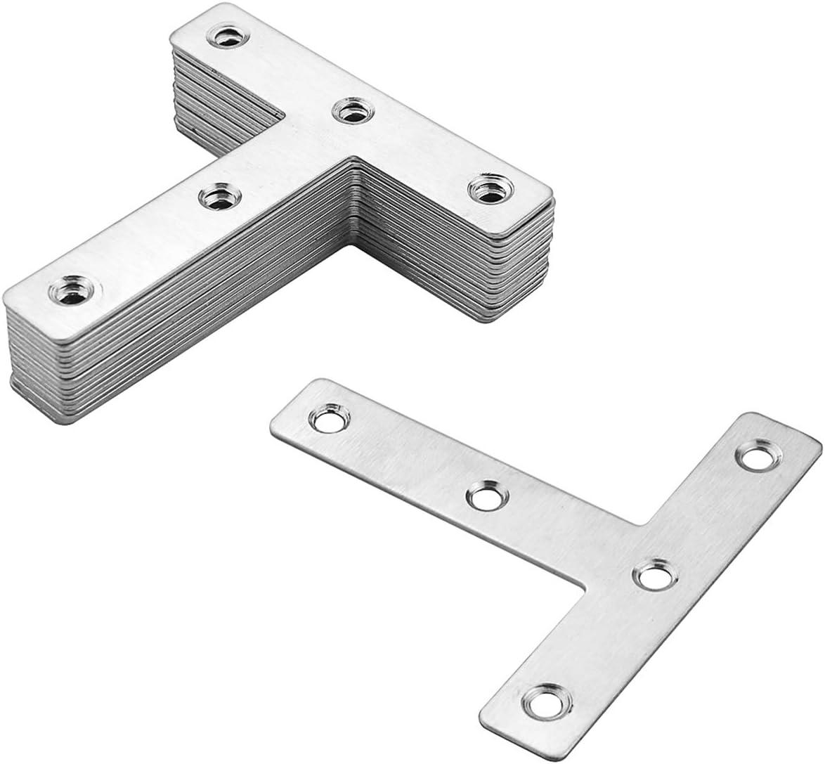 Amersumer 20 Pcs T Shape Flat Repair Plate Bracket, Stainless Steel T Type Repair Mending Plate, Joining Bracket Support Brace for Wood Furniture, Chests, Windows, Desks (80mm x 80mm)