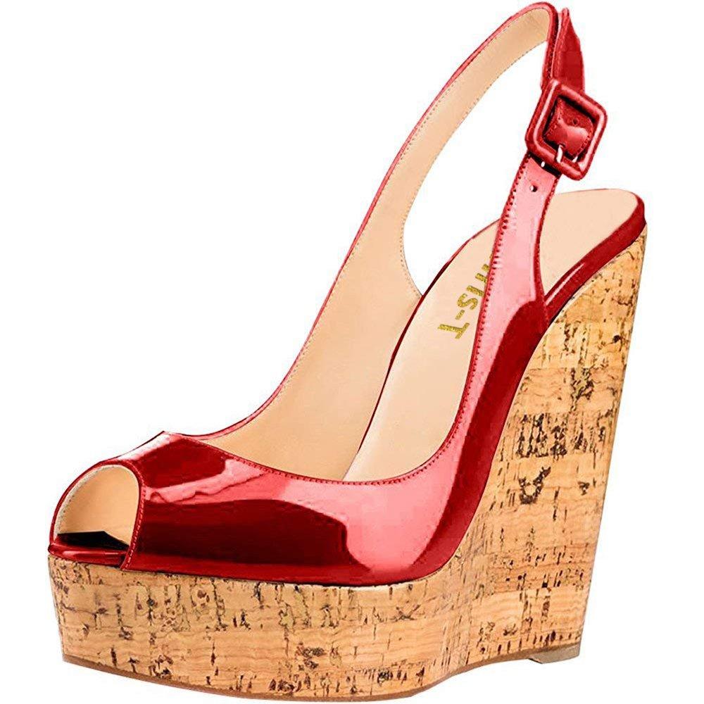 Chris-T Women's Wedges Sandals High Platform Open Toe Ankle Strap Party Shoes B07D4H842W 7 B(M) US|Wine