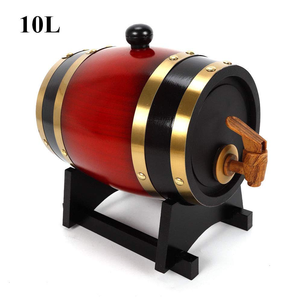 10L Whisky Red Wine Oak Barrel Keg Wine Spirits Port Liquor Wood French Toasted Wine Barrels Brewing Equipment by NOPTEG (Image #1)