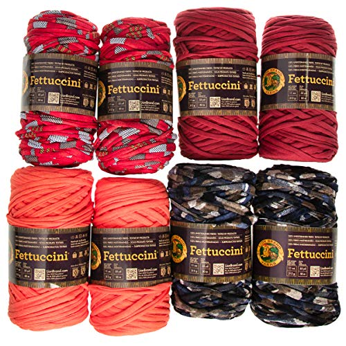 (Lion Brand (8 Pack Fettuccini Assorted Recycled Soft Yarn for Knitting Crocheting Super Bulky #6)