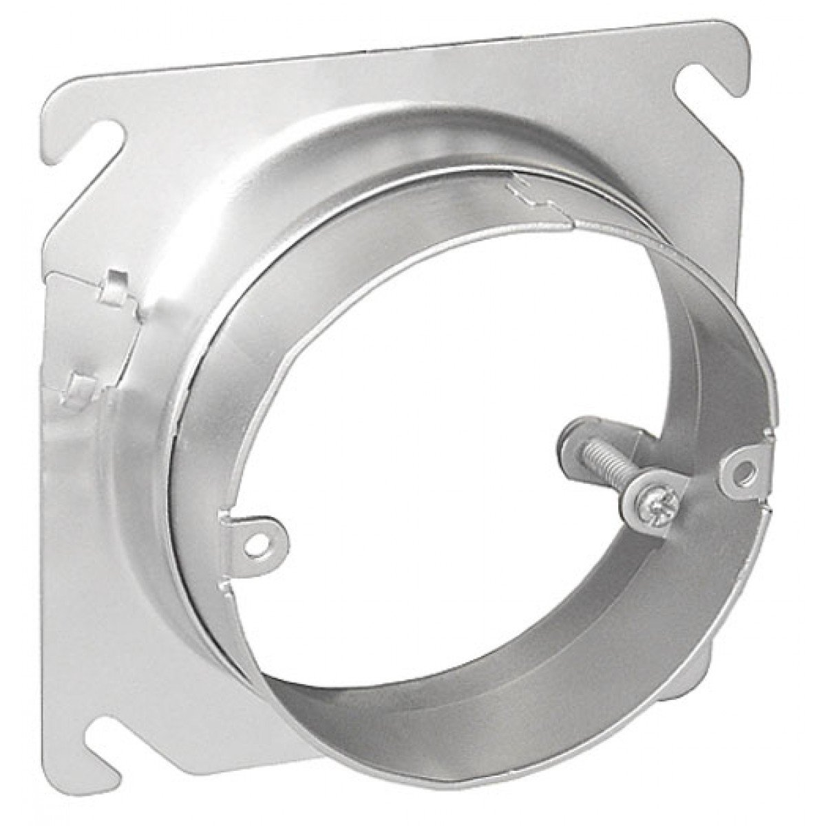 2 Pcs, 4 Square to Round Adjustable Depth Device Ring, 3/4 to 1-1/2 In. Raised, Zinc Plated Steel Used w/4 In Square Boxes Installed In Ceilings, Walls & Floors