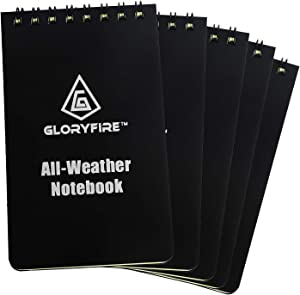 GLORYFIRE Waterproof Notebook All Weather Shower Pocket Tactical Notepad with Cover Steno Pad Memo Book (black 5pcs)