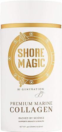 Shore Magic Marine Collagen, Hydrolyzed Marine Collagen Powder, Sustainably Sourced Wild Fish Skin Collagen, Odorless & Unflavored - Approx. 30 Day Supply, 300g Canister