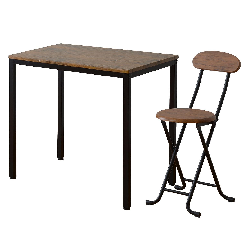 ワイエムワールド ヴィンテージ調 デザイン ボートン テーブル + 折りたたみ式 チェア 1脚 計2点セット 34-123 B06XCJ8TDS Parent ブラウン テーブル+チェア1脚