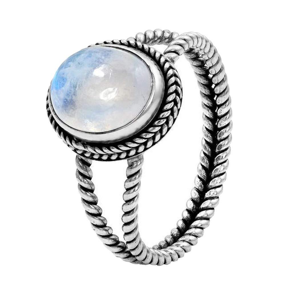 ballsFHK Fashion Trend Retro Charm Women's Luminous Stone Egg Shape Gem Wedding Ring Engagement