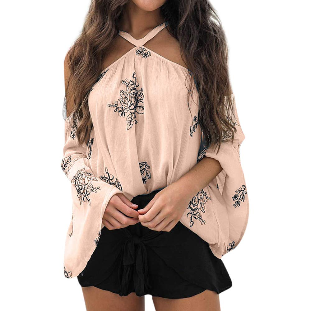 Clearance Sale! Women Long Sleeve Off Shoulder Flora Print Tops Daoroka Ladies Sexy Butterfly Sleeve Jumper Pullover Casual Loose Blouse Fashion Cute Autumn Winter Comfort Tunic T Shirt