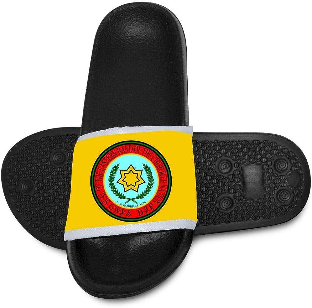Qujki Kids Eastern Band Cherokee Flag Beach Sandal Non-Slip Bath Slipper Black