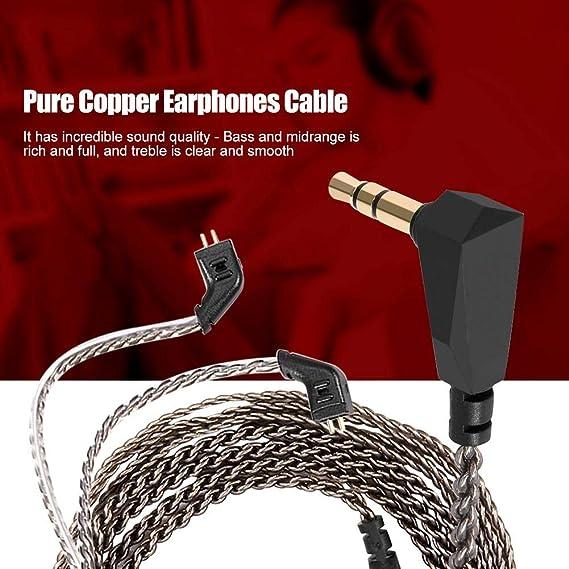Auriculares Audio Cable Desmontable para KZ ZST ED12 ES3 ZSR Auriculares Reemplazo DIY 0.75mm 2 Pin Cables de extensi/ón de Cable de Cobre Puro con Conector de 3.5mm