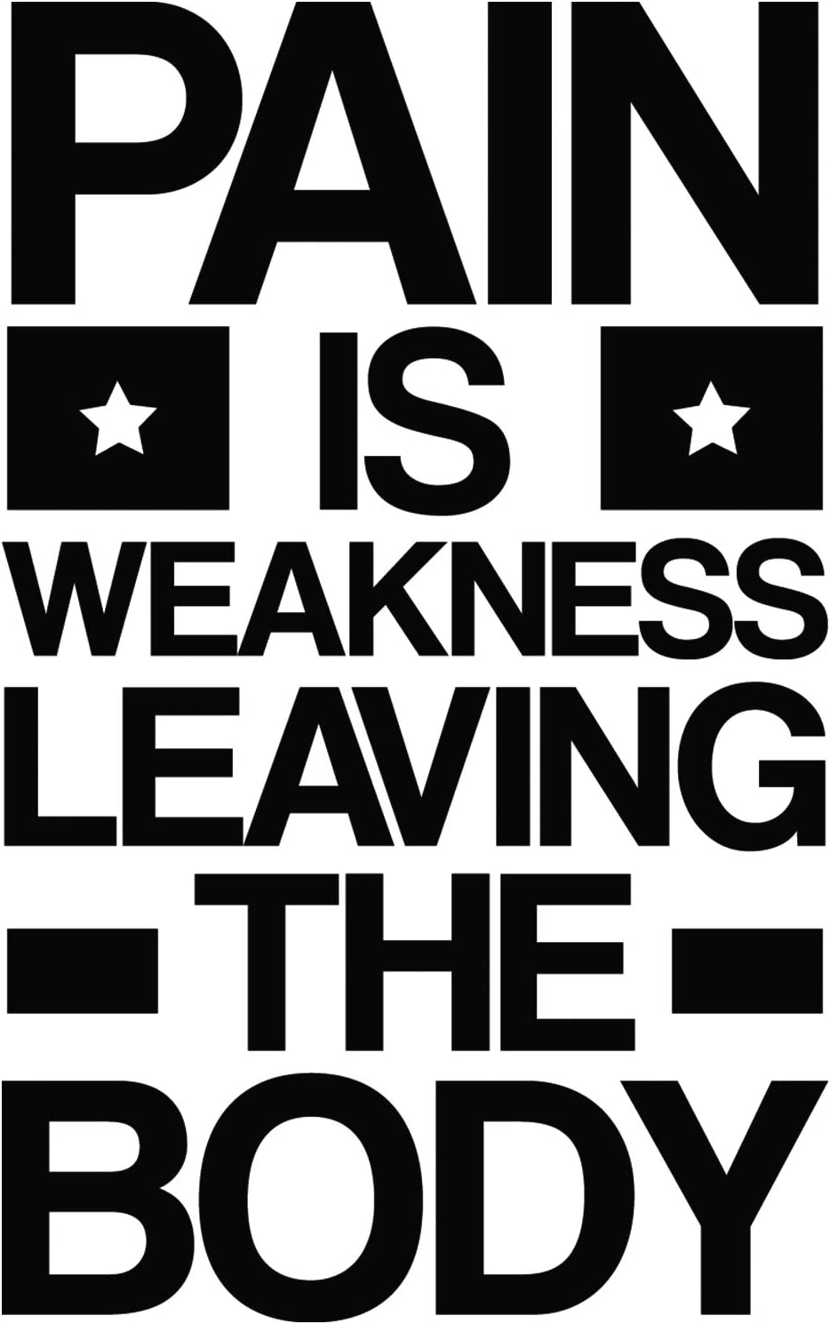 My Vinyl Story | Pain is Weakness Leaving The Body | Motivational Large Gym Wall Decal Quote for Home Gym Yoga Exercise Fitness Workout Motivational Wall Art Decor Vinyl Removable Sticker 22x36 in