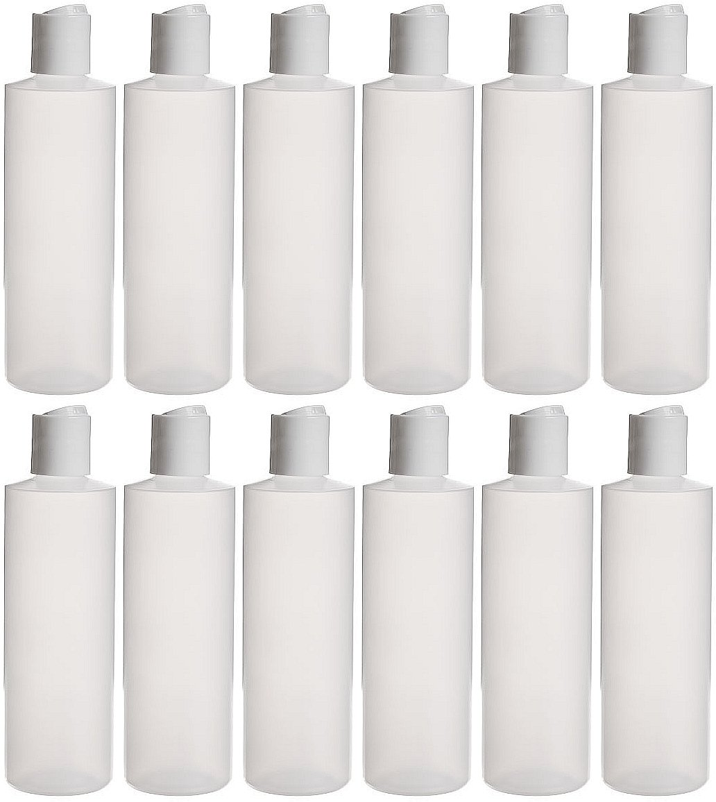 Earth's Essentials Twelve Pack Of Refillable 8 Oz. Squeeze Bottles With One Hand Press Cap Dispenser Tops--Great For Dispensing Lotions, Shampoos and Massage Oils.