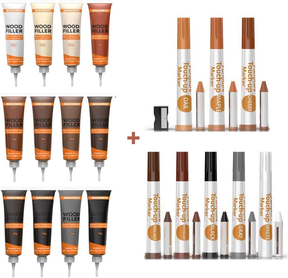 NADAMOO Wood Scratch Repair Kit for Floor and Furniture, including 12 pcs Wood Filler Paste, 1 Brush, 8 Touch Up Markers, 8 Wax Sticks,1 Sharpener.