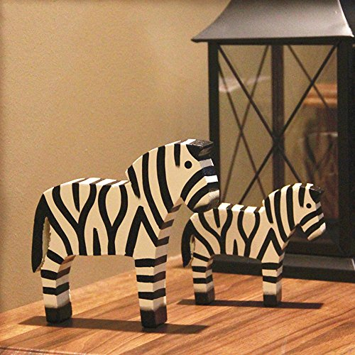 BWLZSP 1 pair Simple Classic Country Style Nordic Log Decorations Oban Set Two Raw Wood Zebras LU620118 by BWLZSP (Image #1)
