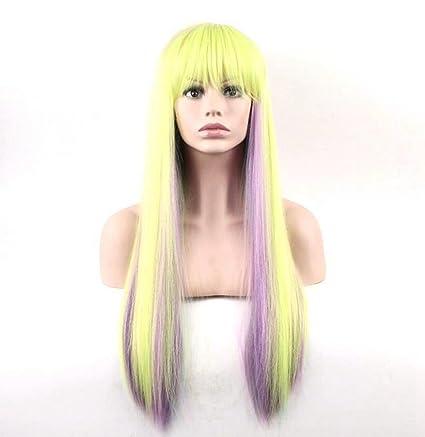 aukmla señoras peluca recta sysnthetic Pelucas Para Halloween Cosplay barato alta calidad Pelo largo Peluca