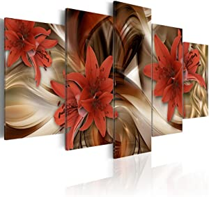 "Konda Art - Red Flower Painting Modern Canvas Wall Art 5 Panels Decorative Artwork Floral Prints Abstract HD Pictures for Bedroom Framed and Ready to Hang (40""x20"")"