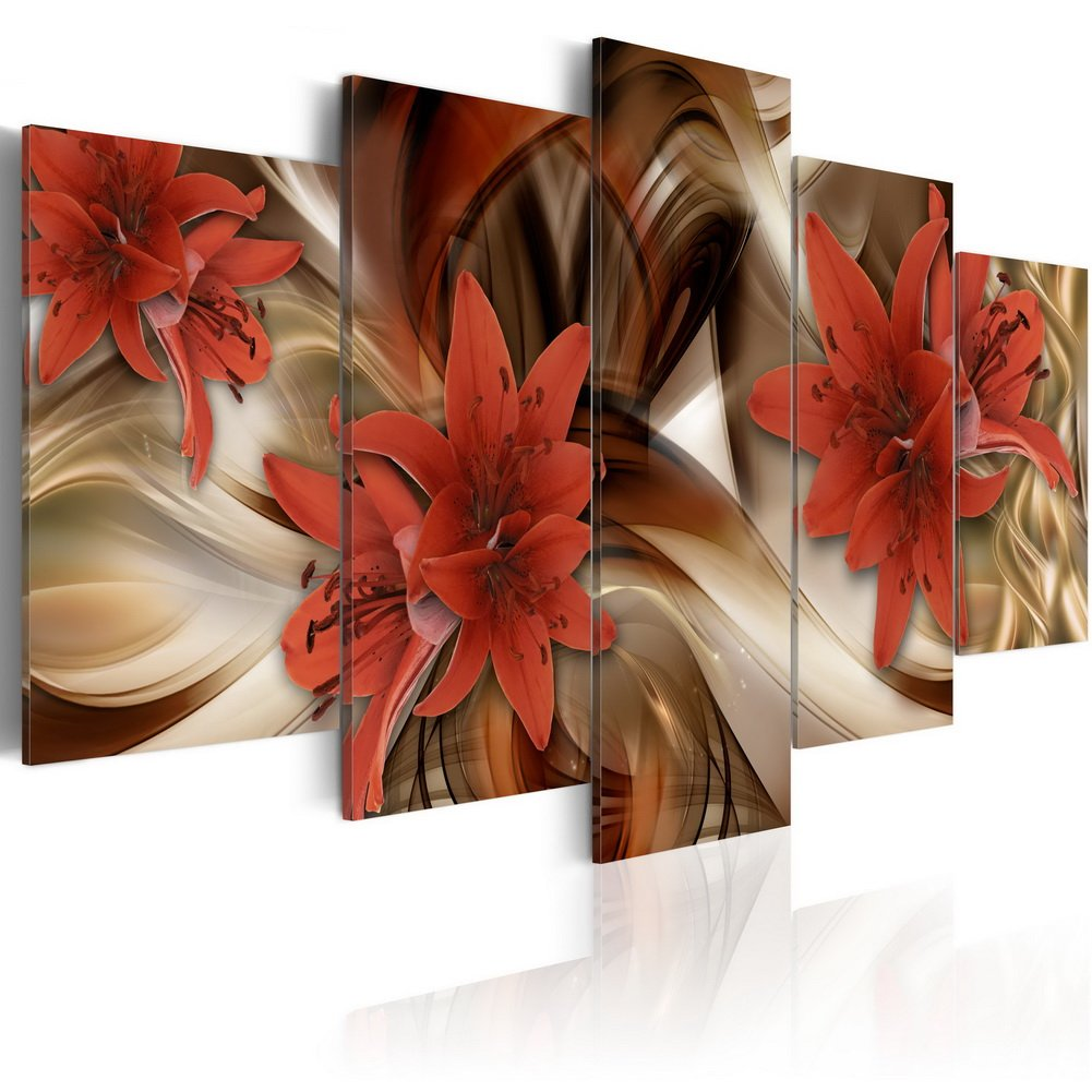 "Konda Art - Red Flower Painting Modern Canvas Wall Art 5 Panels Decorative Artwork Floral Prints Abstract HD Pictures for Bedroom Framed and Ready to Hang (80""W x 40'' H)"