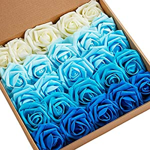 N&T NIETING Roses Artificial Flowers, 25pcs Real Touch Artificial Foam Roses Decoration DIY for Wedding Bridesmaid Bridal Bouquets Centerpieces,Party Decoration, Home Display (SeriesB Blue) 86
