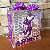 Volleyball Typography GemLight Personalized with your name and colors