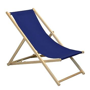 Silla Playera Ajustable - Estilo Tradicional para el jardín y la Playa - Azul Marino - 2 Unidades