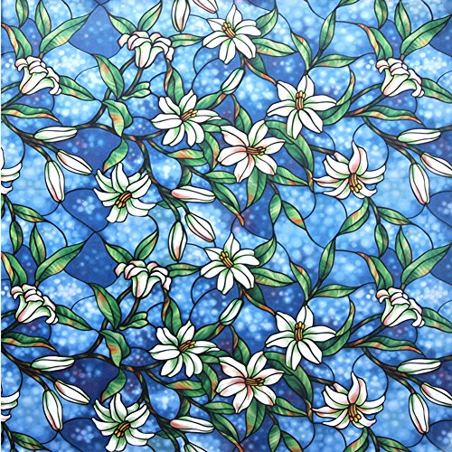 Amposei Static Cling Orchid Design Stained Glass Decorative Windows Privacy Film (Stained Glass Film)
