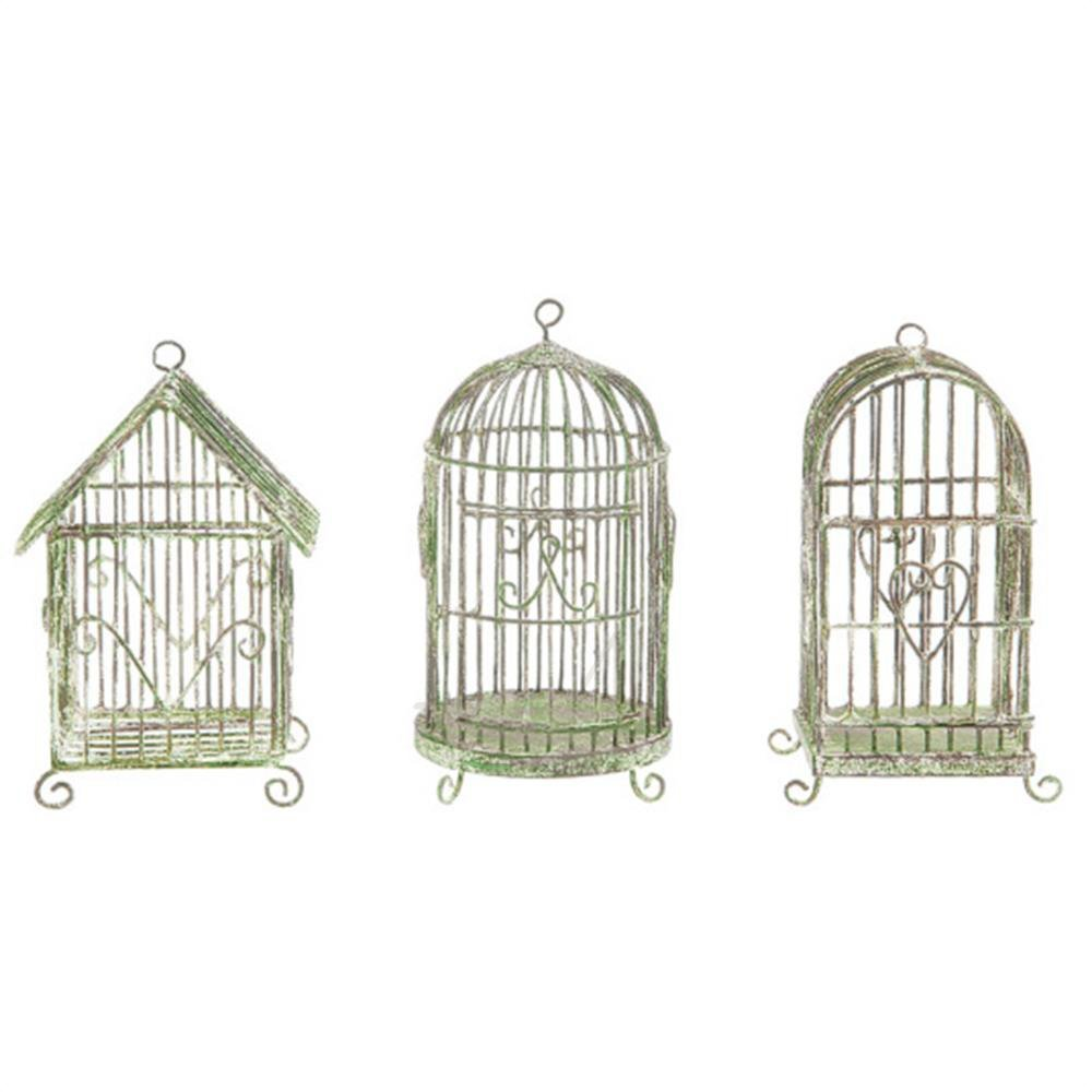 Creative Co-op 5H Mini Metal Wire Hanging Bird Cages Set of Three