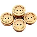 Vi.yo Handmade Wooden Buttons 2 Holes Buttons Printed with love for Sewing Scrapbooking DIY Accessories Craft Supplies 15MM 100Pcs