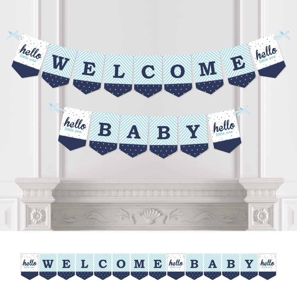 Welcome Baby Big Dot of Happiness Hello Little One Boy Party Decorations Blue and Silver Baby Shower Bunting Banner