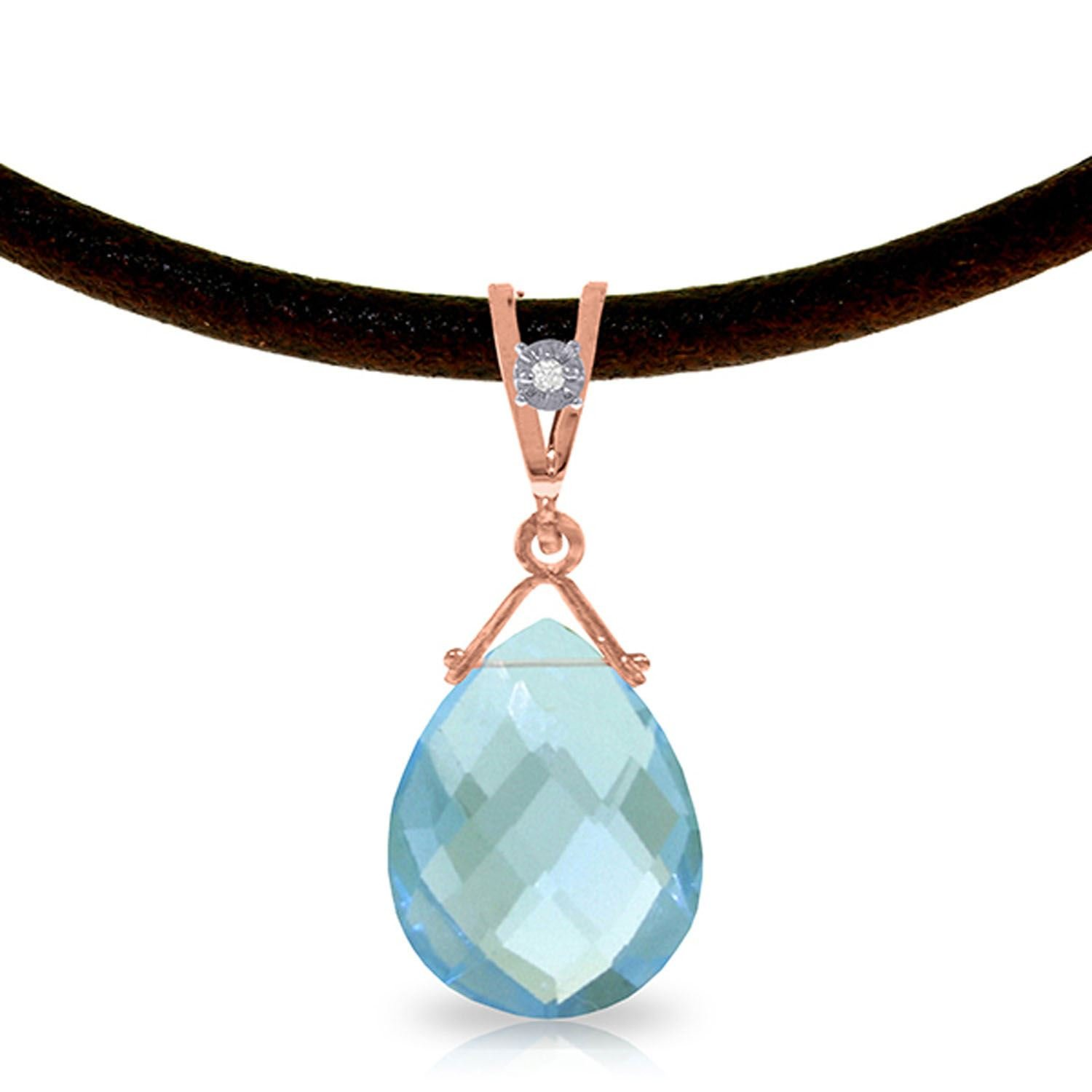 ALARRI 14K Solid Rose Gold /& Leather Necklace w// Diamond /& Blue Topaz with 24 Inch Chain Length