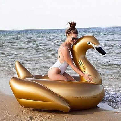 HAHAJY Montura de Cisne Negro Inflable Flotador de Cisne ...