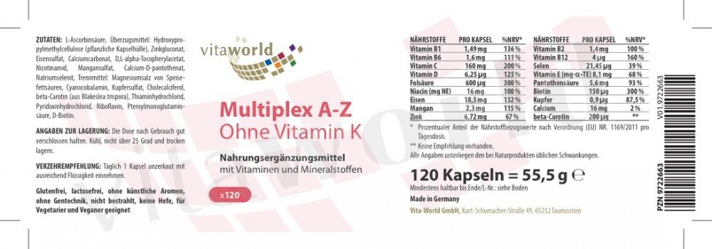 Amazon.com: Complejo Multivitaminico A-Z sin Vitamina K 120 Cápsulas Multivitaminas Multiplex Made in Germany: Health & Personal Care