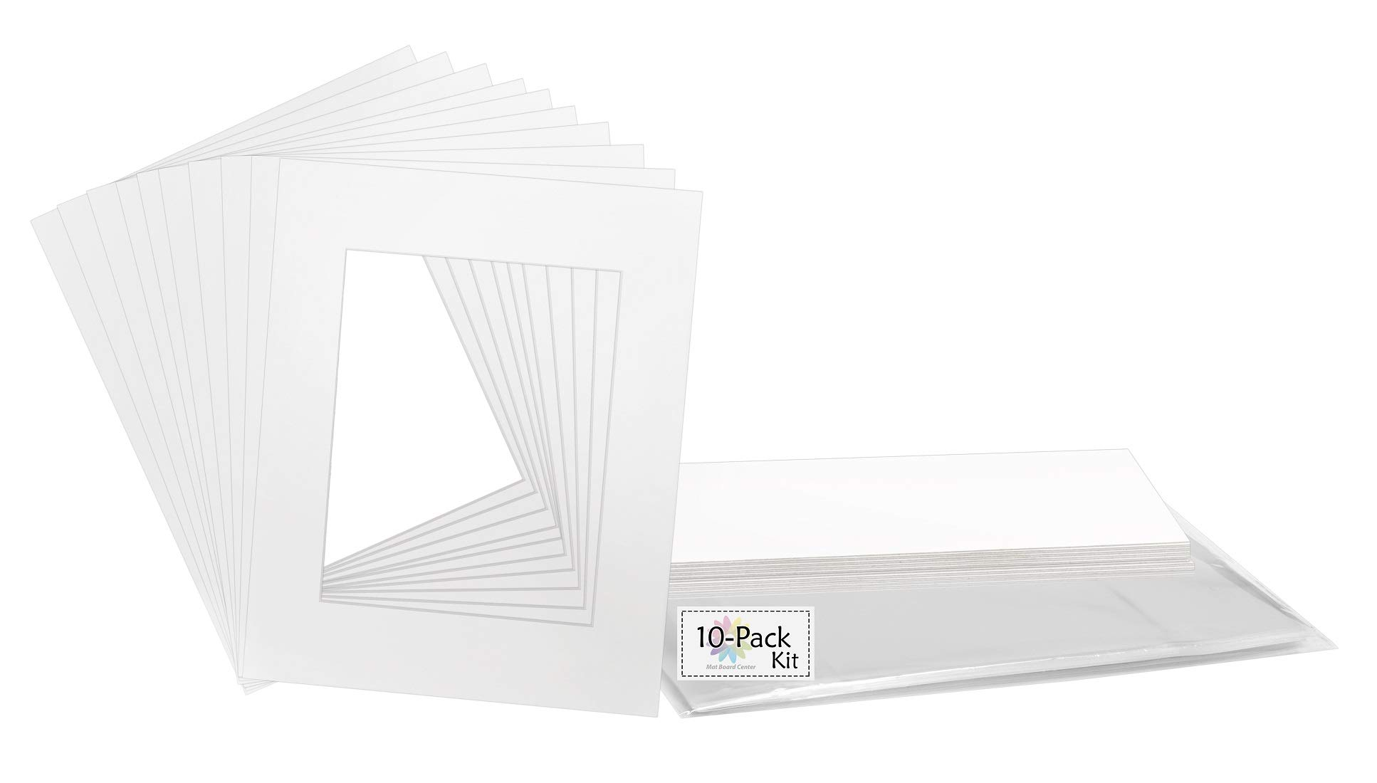 Mat Board Center, Acid-Free Pre-Cut 16x20 White Picture Mat Set. Includes a Pack of 10 White Core Bevel Cut Mattes for 11x14 Photos, Backers & Clear Bags by MBC MAT BOARD CENTER