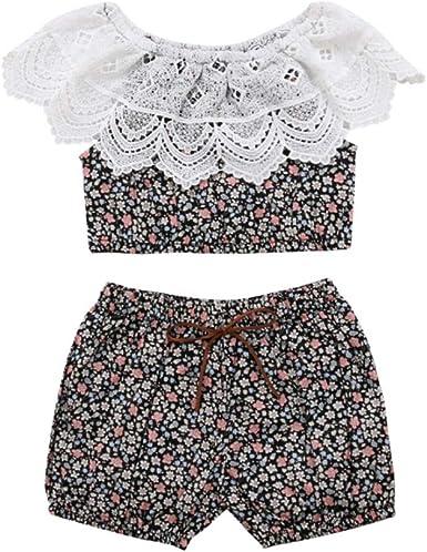 Hongyuangl 2019 Bebé Niña 2 Piezas Trajes de Verano de Encaje Camisa Crop Top + Pantalones Cortos: Amazon.es: Ropa y accesorios