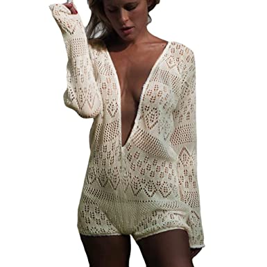 771fa18615 TOPSPEED Womens Sexy Swimsuit Knit Crochet Lace One Piece Swimsuit Deep V  Neck Long Sleeve Lace