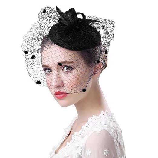 a39bac05e Clobeau Fascinators Hat Women Party Church Derby Fancy Veil Wedding Hat  Hair Fascinator