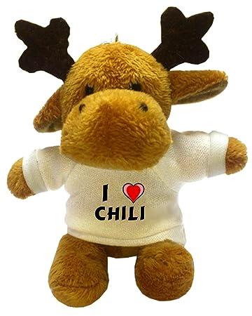 Amazon.com: Alce de peluche llavero con I Love Chile (nombre ...