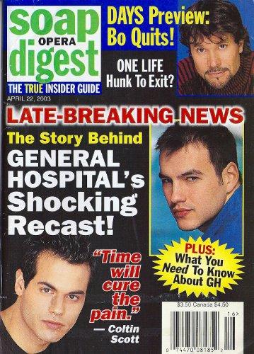 Tyler Christopher, Coltin Scott, General Hospital, Eileen Davidson, Daytime's Most Boring Whodunits - April 22, 2003 Soap Opera Digest Magazine