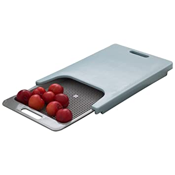 Doble Kitchen Sink Cutting Chopping Board Slide Style Grey / Blue