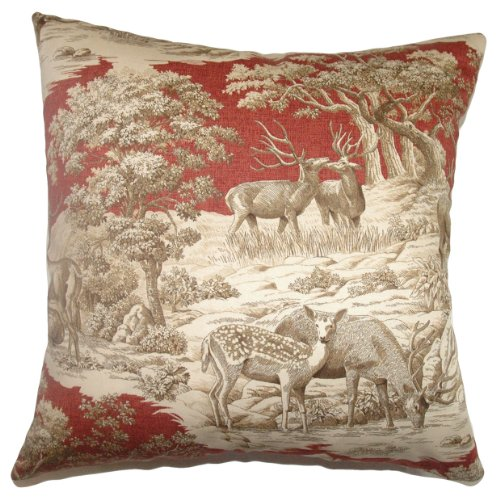 The Pillow Collection Feramin Toile Pillow, Redwood Front