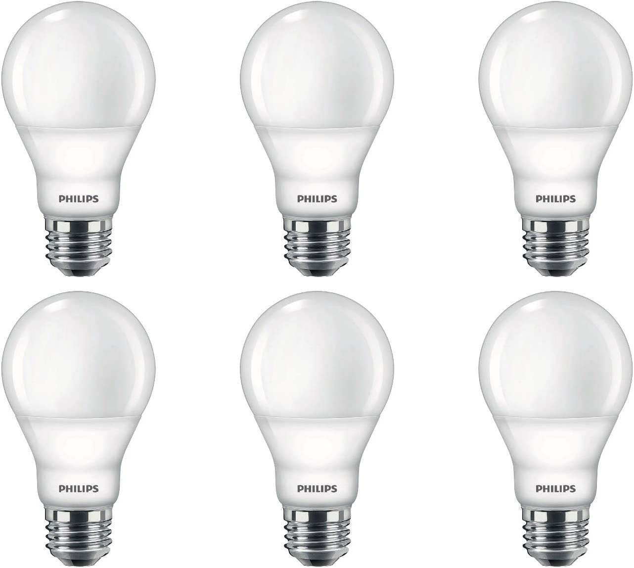 Philips LED 479444 Dimmable A19 Light Bulb with Warm Glow Effect 800-Lumen, 2200-2700 Kelvin, 8.8 Watt, E26 Base, Frosted, Soft White, 6-Pack