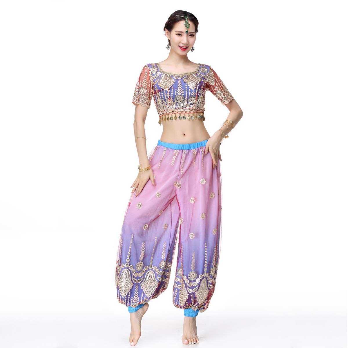 Belly Dance Bollywood Costume - Sari Noble Indian Dance Outfit Halloween Costumes Harem Pants 2 Pieces for Women(Purple,Large) by MISI CHAO