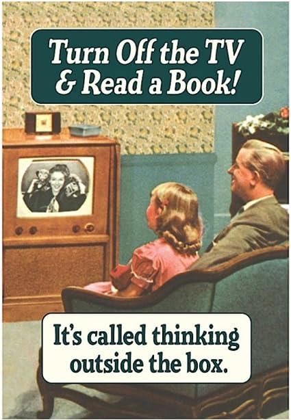 Retro Humour Apaga la TV y lee un libro. Tarjeta de felicitación ...
