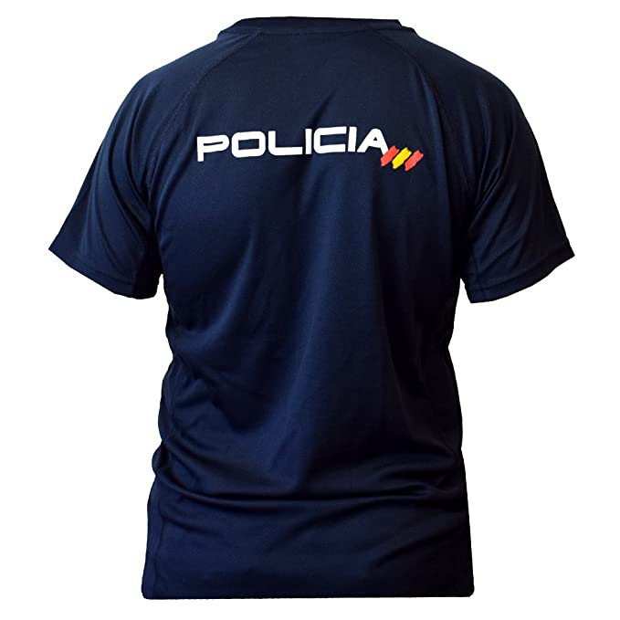 CNP Camiseta policia Nacional Tejido Tecnico para Entrenamiento oposiciones, Color Azul Marino con Bandera de españa, Disponible en Varias Tallas: ...