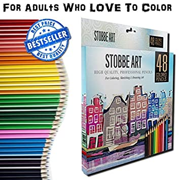 Adult Coloring Pencils by STOBBE ART 48 Colored Drawing Pencils Set & FREE  Download Coloring Book!