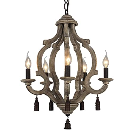 DOCHEER Vintage Rustic Metal Wood Chandelier 5-Candle Holder Lights Retro Wooden Ceiling Pendant Chandeliers Lamp Hanging Home Decor Lighting
