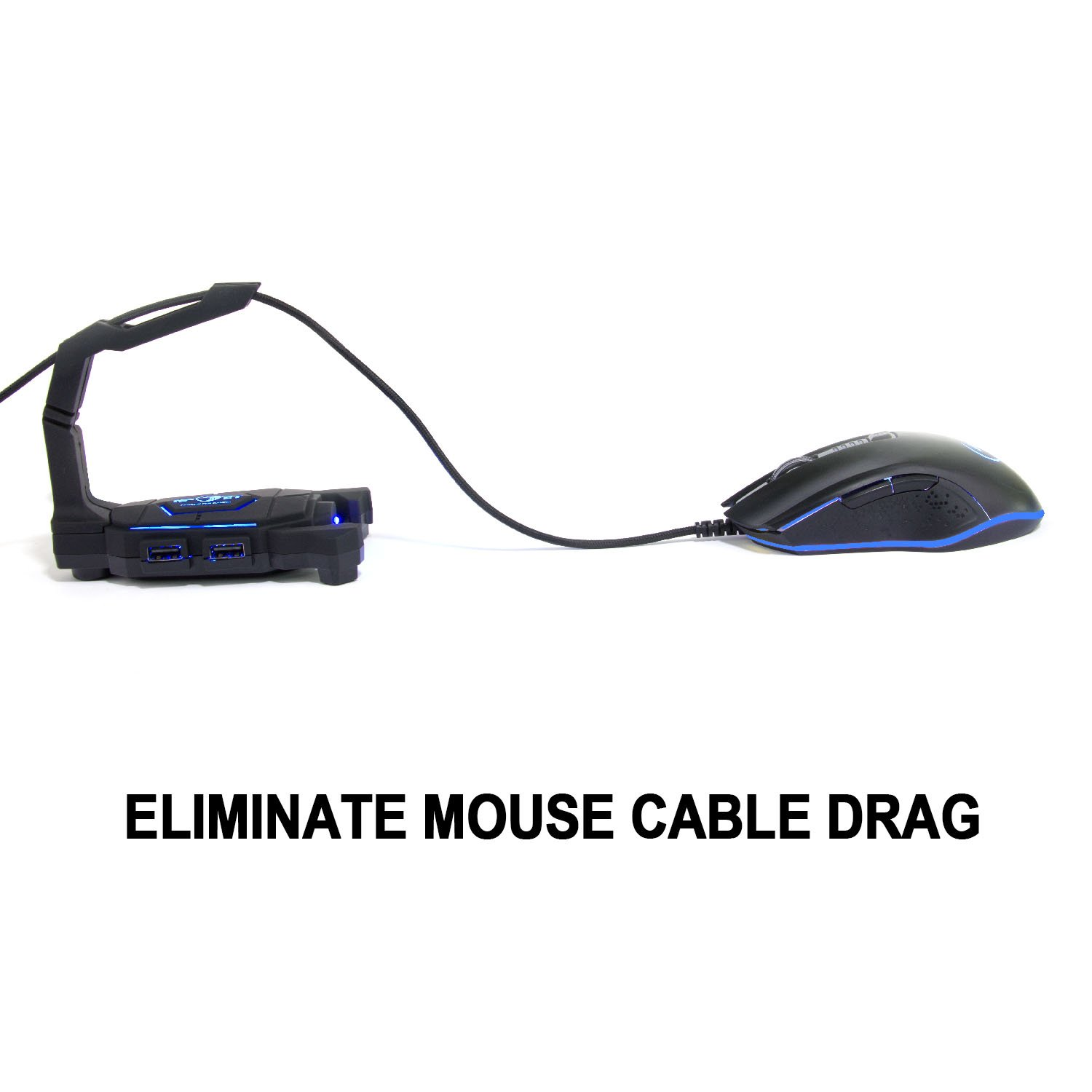 Gaming Mouse BungeeCord Holder with 4-Port USB HUB, NPET H01 LED Lighting Mouse Cable Manager, Non-Slip Rubber Pads Base, Clamping Arrangements, Designed for Pro Esports, Competitive Games by NPET (Image #3)