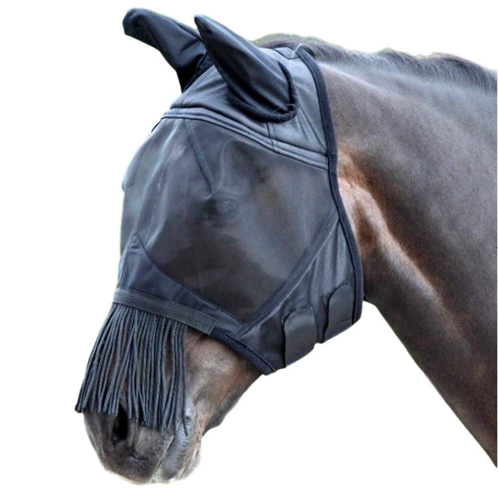 Shires Fine Mesh Fly Mask with Fringe Ears Full Black