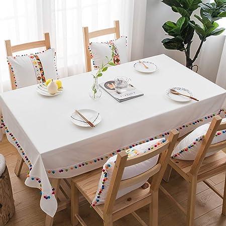 LYDCX Mantel Moderno Simple De Color Sólido Tela Blanca Algodón Rectangular Mesa De Centro Cubierta De Tela Paño De Mesa Paño De Mesa Redonda Blanco 130X220Cm: Amazon.es: Hogar
