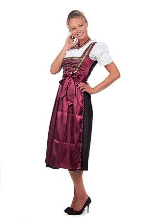 7b3ccd868d7bf4 Bayerische Damen Midi Dirndl Kleid 3-teilig mit Schürze und Bluse Schwarz  Rot,Rot