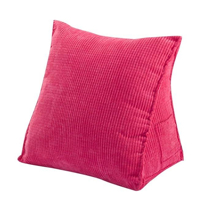 Woneart Almohadas de Lectura-Almohadas lumbares-Cojin cuña Cojines de Respaldo para sofá, Coche, Silla, Cama (Rose, M: 47x45x23cm)
