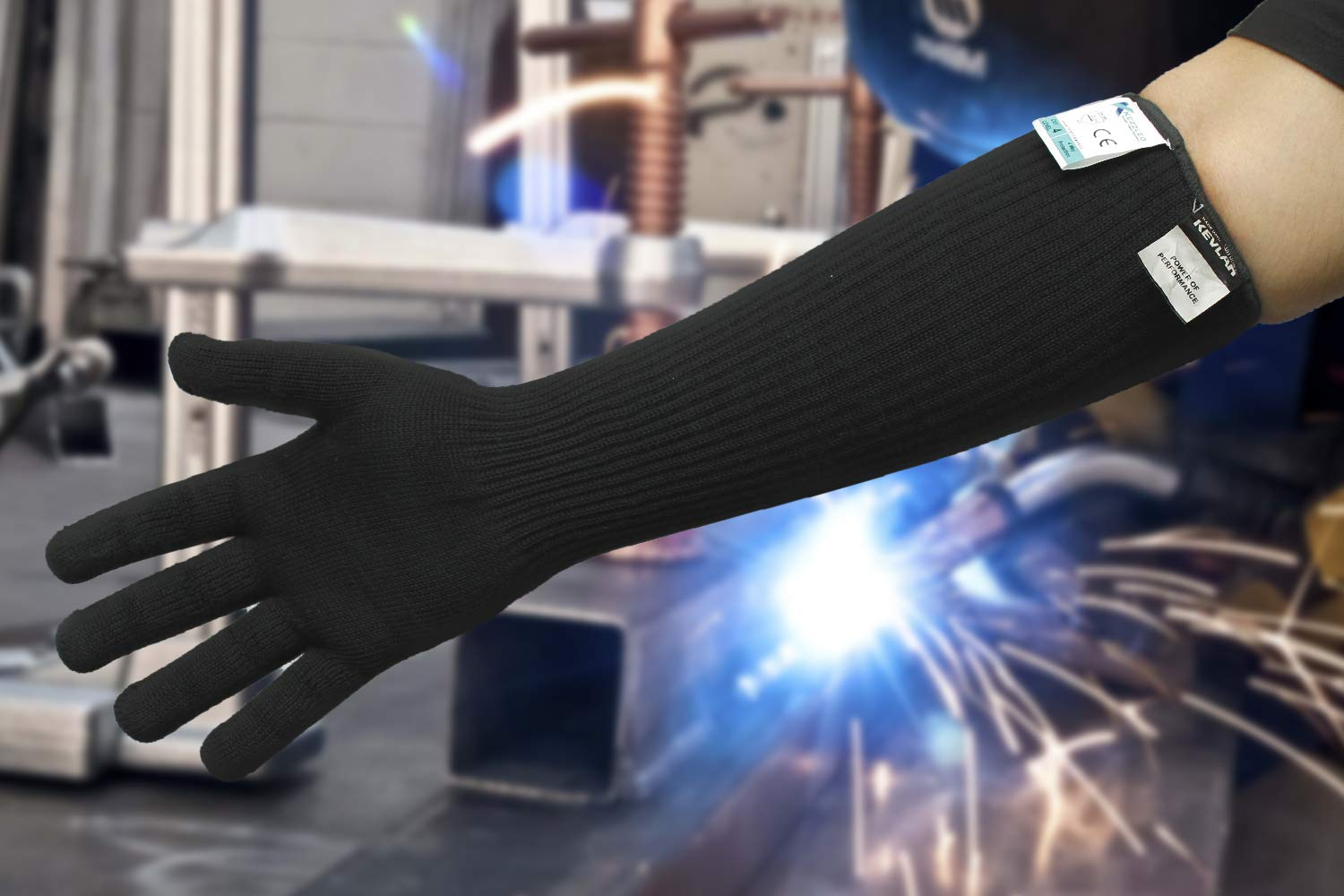 Cut/Scratch/Heat Resistance Designer Glove with Extended Arm Sleeve- Black (Made with Kevlar by DuPont) by KEZZLED (Image #5)