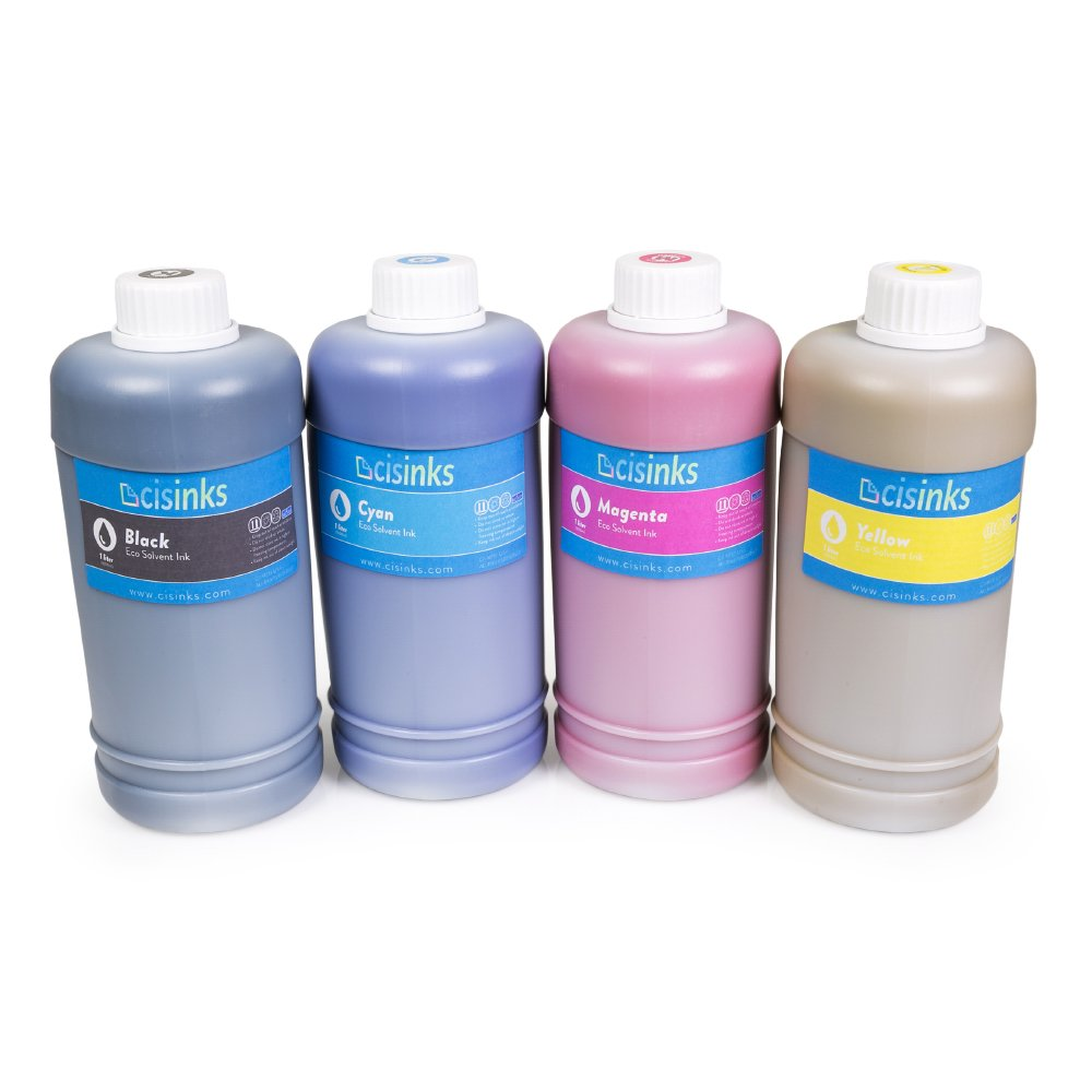 Cisinks Eco-Solvent Ink 4 Color Bottle Set for Roland Mimaki Mutoh Printers (4000 ml/4 Liters) by CIS Inks (Image #1)